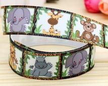 "7/8"" Grosgrain Ribbon jungle baby animals, bow supplies 3 yards"