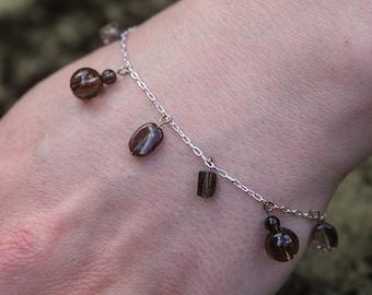 Sterling silver and smoky quartz semi precious gemstone charm bracelet. hypoallergenic bracelet. earthy brown bracelet. beaded bracelet