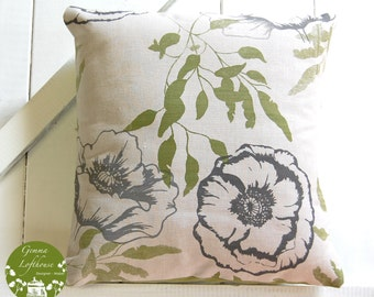 "Bespoke Poppies Screen Printed Cushion - Greens and Greys/Linen 16""x16"""
