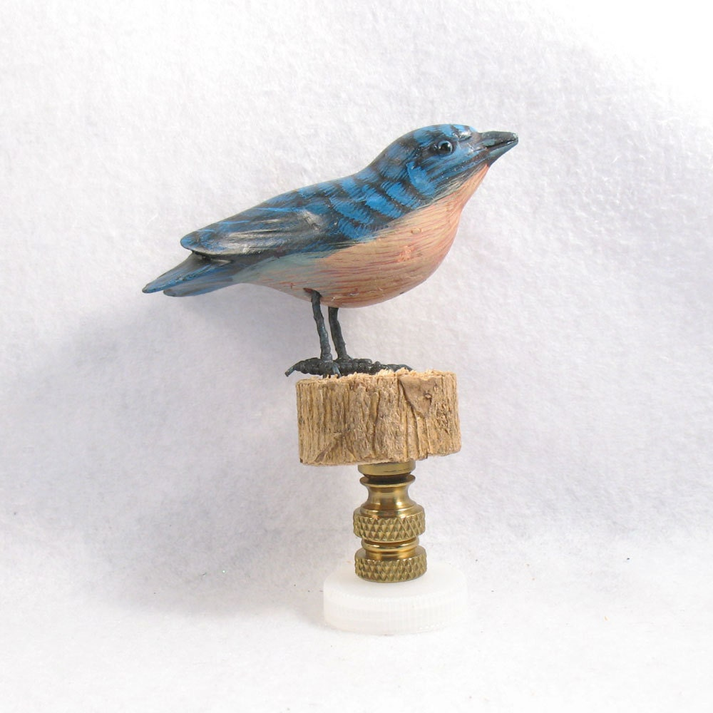 lamp finial bluebird standing on a log hand painted vintage. Black Bedroom Furniture Sets. Home Design Ideas