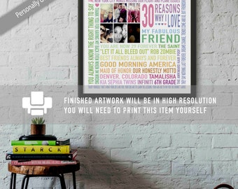 Best Friend 30th Birthday Gift / Reasons Why / Personalised / Unique Word Art / Rainbow Colors / Sunshine / Colorful / Digital Download /