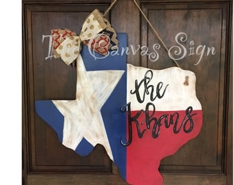 Hand Painted antiqued Texas Door Hanger