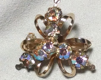 Vintage Flower Rhinestone and Metal Brooch