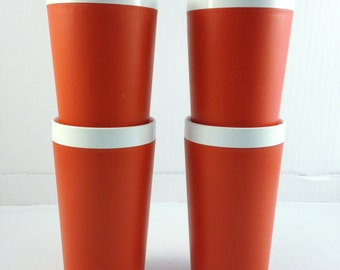 Vintage Tumblers David Douglas & Co. Red and White Tumblers Set of 4 1970's Therm Ware