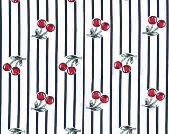 "Fabric ""Mon Cheri"" in a Striped Cherry Print - By the Yard"