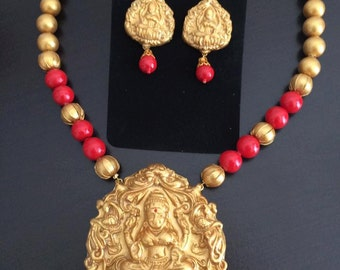 Temple design- Goddess Lakshmi Necklace- Indian terracotta necklace