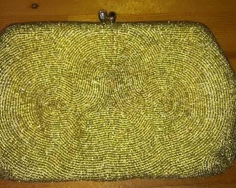 CLEARANCE***1950s Hand Beaded Gold Clutch with Rhinestone Clasp