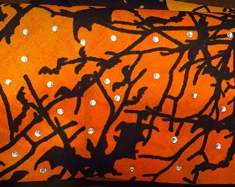 Halloween Orange with Bats Bling Bandana