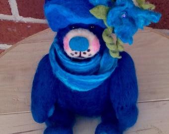 Needle Felted Blue Teddy Bear
