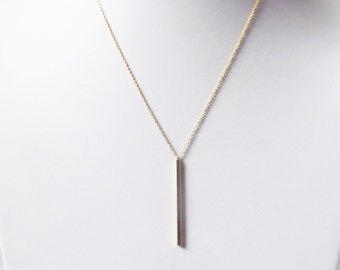 gold vertical bar necklace long bar pendant necklace