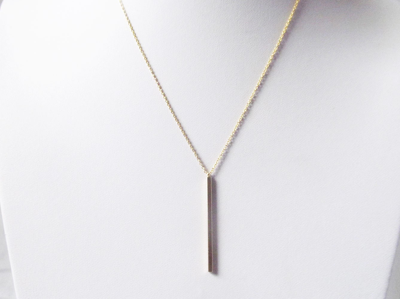 gold vertical bar necklace bar pendant by twixtdesigns