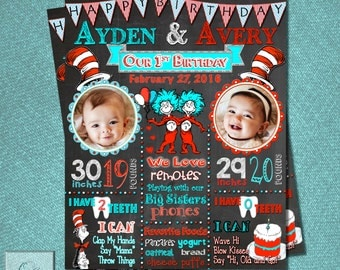 Custom Birthday Poster Sign - TWINS Thing 1 and Thing 2 Cat in the Hat DR. SUESS -Milestone poster to create lasting memories! Personalized!