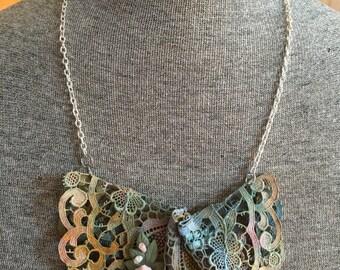 Vintage crochet doily necklace