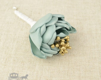 Prom Buttonhole - Sage Buttonhole - Sage Green Wedding - Sage Ushers - Sage Groomsmen - Sage Green - Sage Boutonniere - Sage And Gold - Sage