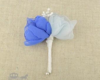 Buttonhole - Handmade Double Head Cornflower Blue Buttonhole IvoryStamens Groom Usher Page Boy Poppy Wedding Flowers