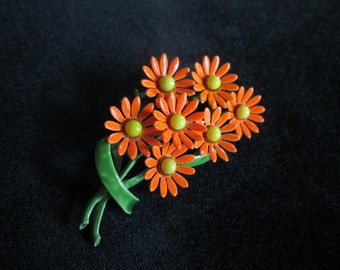 Vintage Enameled Clustered Bouquet Orange with Yellow Button Flowers Greenery Pin Brooch