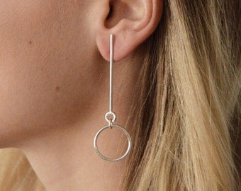 Noise and Hurry - Suspended Silver Hoop Earrings