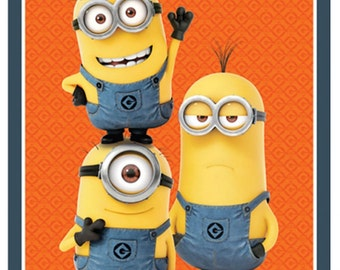 One In A Minion Orange Panel from Quilting Treasures By The Panel