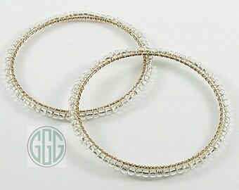 Bracelets - Two Clearly Big Bold Bangles (B001)
