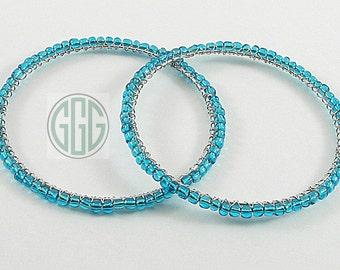 Bracelets - Two Teal Blue Big Bold Bangles (B002)