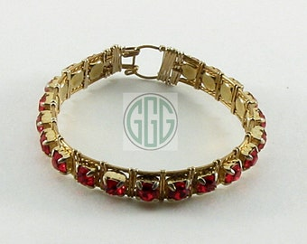 Bracelet - Regal Red Rhinestones (B020)