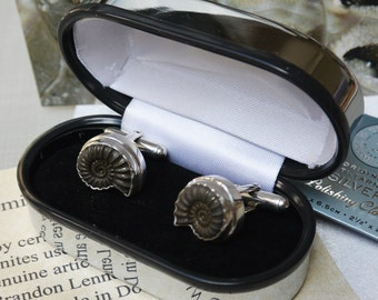 Promicroceras Ammonite Cufflinks in Sterling Silver