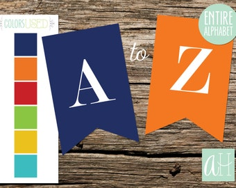 Printable Pennant Banner that includes entire alphabet: Colorful Banner with White Letters (Instant Digital Download)