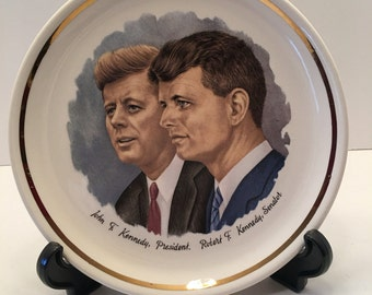 John F Kennedy and Robert F Kennedy Collectible Plate ~ The President and The Senator ~ Brothers ~ Americana ~ Vintage
