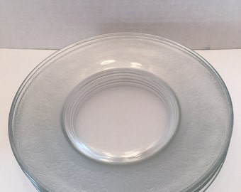 Vintage Clear Glass Plates ~ Set of Five ~ Etched and Frosted Plates