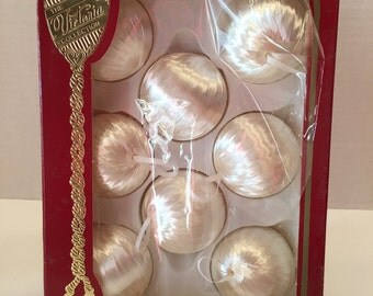 Vintage Christmas Ornaments Set of Eight  Unbreakable White Satin Sheen Victoria Collection by Rauch
