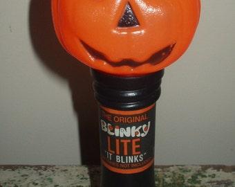 "Vintage Blowmold Halloween Blinky Lite ""it Blinks"" Flashlight Plastic Works Great JOL Pumpkin"