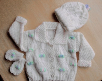 Handmade Hand Knitted Cream Cardigan Jacket Baby Newborn Girl Children