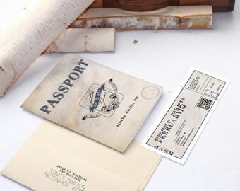 Tear off Ticket Destination Passport Wedding Invitation 2016 QR Code