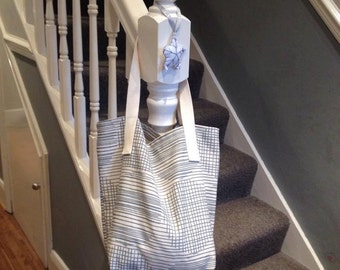 Blue and Natural Stripe Tote Bag