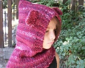 Knit Fox Cowl Hood, Knitted Hood Cowl, Knit Animal Cowl, Hooded Animal Cowl, Kids Hoodies, Toddler Halloween