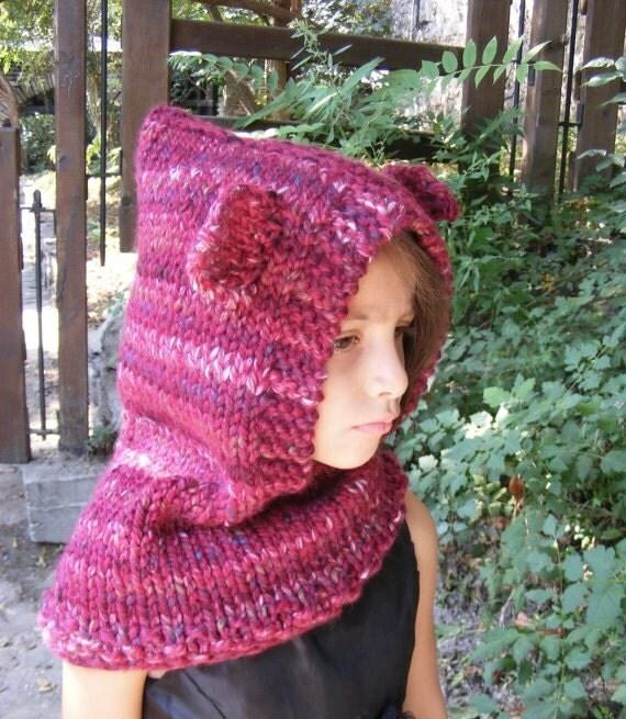 Animal Cowl Knitting Pattern : Knit Fox Cowl Hood Knitted Hood Cowl Knit Animal Cowl