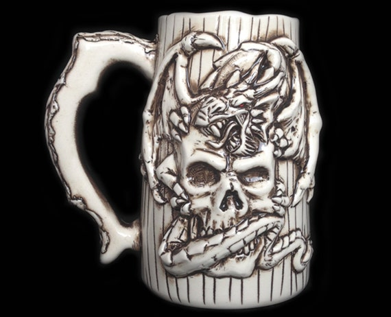 Dragon And Skull Beer Mug Handmade Sculpted By Kachaktanomugs