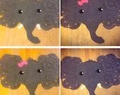 Elephant Rug, Elephant gift, girls room, boys room, custom crochet, Nursery decor, Elephant playmat
