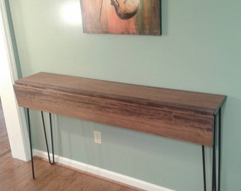 Beautiful honey brown poplar console drop down table sofa table with black hairpin legs