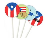 Puerto Rican Cupcake Toppers, instant download, cupcake toppers, puerto rican flag, coqui frog,