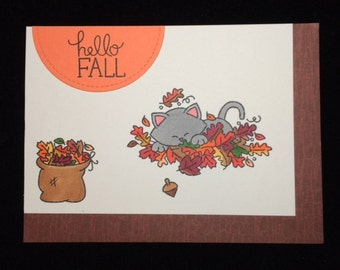 Hello Fall Kitten Greeting Card