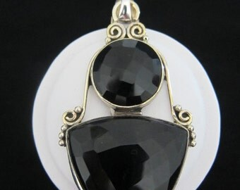 Faceted Obsidian, Sterling Silver Pendant (S30)