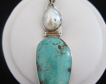 Turquoise, Mother Of Pearl, Sterling Silver Pendant (S61)