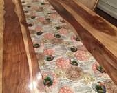 Fall Turkey table runner-Thanksgiving fabric runner
