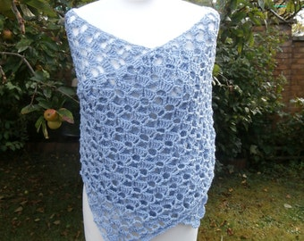 Eco-Friendly Recycled Cotton Shawl Crochet Evening Wrap
