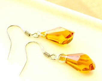 Yellow Swarovski Polygon Earrings, Topaz  Swarovski Earrings,  Swarovski Jewelry