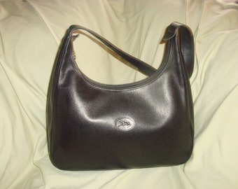Black Leather Longchamp Shoulder Bag