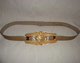 Final Clearance Taupe Snakeskin Alexis Kirk Belt