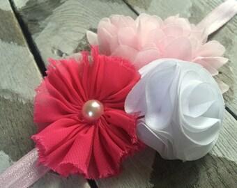 Pink and White Headband  - Baby Headband -  Toddler Headband -  Hot Pink Light Pink White