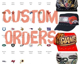Custom order sequin stitched NFL football womens crystal hat